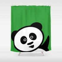 pocket Shower Curtains featuring Pocket panda by Jaxxx
