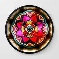 sacred geometry Wall Clocks featuring Sacred by Sircasm