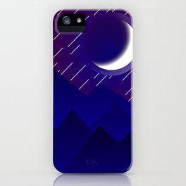 Crescent Moon in Night over the Mountains Nature Abstract art iPhone Case