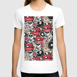 Seamles pattern. Crazy punk rock abstract background. Skulls, guitars, rock symbols. T-shirt