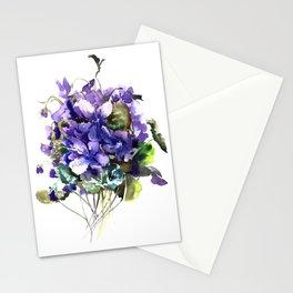 Violet flowers, wild violet flowers Stationery Cards
