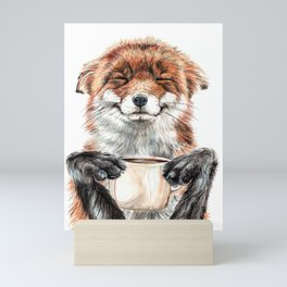 """ Morning fox "" Red fox with her morning coffee Mini Art Print"