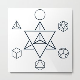 Merkaba and the Platonic Solids, Sacred Geometry Metal Print