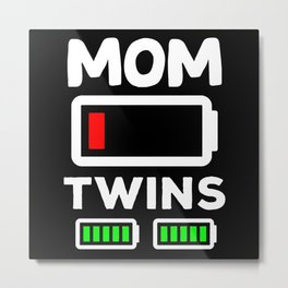 Womens Twin Mama  Twin Mom to Be Pregnancy Metal Print
