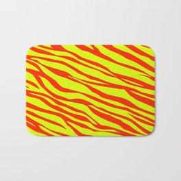 Cherry Red And Sunshine Yellow Zebra Stripes Bath Mat