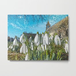 Snowdrops on texture Metal Print