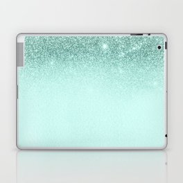 Mint Green Glitter Ombre Fading Paper Laptop & iPad Skin