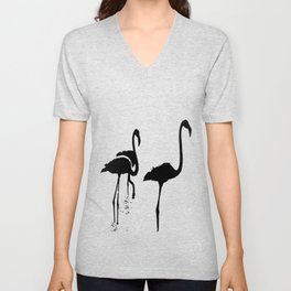 Three Flamingos Black Silhouette Isolated Unisex V-Neck