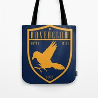 ravenclaw Tote Bags featuring Ravenclaw Crest by machmigo