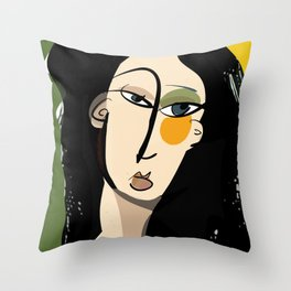 The girl with yellow cheek Throw Pillow