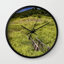 Cute Wooden Bridge Leading through the Fern Covered Side of Mombacho Volcano, Nicaragua Wall Clock