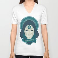 equality V-neck T-shirts featuring EQUALITY by Akiwa