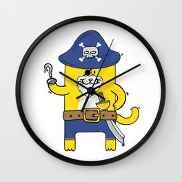 Pirate Meow Wall Clock