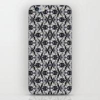 damask iPhone & iPod Skins featuring Black Damask  by Elena Indolfi