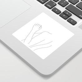 Nude figure line drawing illustration - Fina Sticker