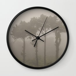 Four Pine Trees in the Fog Wall Clock