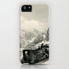 Antique train rack railway near Mont Blanc French Alps iPhone Case