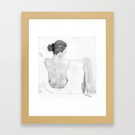 Sitting woman with her back exposed Framed Art Print