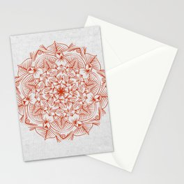 Rust Red Mandala on Japanese Rice Paper Stationery Cards