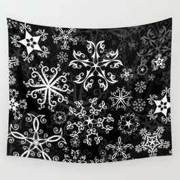 Symbols in Snowflakes on Black Wall Tapestry