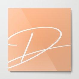 'D' modern letter print in peach Metal Print
