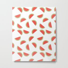 WATERMELON SLICES WITH SEEDS FRUIT FOOD PATTERN Metal Print