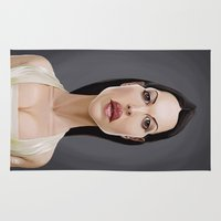 celebrity Area & Throw Rugs featuring Celebrity Sunday ~ Monica Bellucci by rob art | illustration