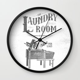 Farmhouse laundry sign rustic vintage distressed shabby chic laundry room art vintage laundry sign Wall Clock