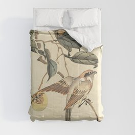Vintage brown ivory bird floral tree branch Comforters