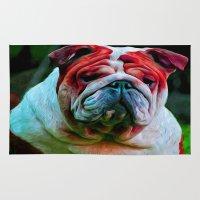 bulldog Area & Throw Rugs featuring Bulldog by 13th Moon Social Club