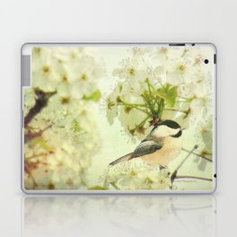 Black Capped Chickadee on Spring Flower A160 Laptop & iPad Skin