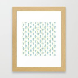 Leaf Art 3 Blue, leaves, nature art, leaf design, leaf pattern, watercolor art design Framed Art Print