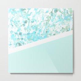 Aqua Splatter - Diagonal Metal Print