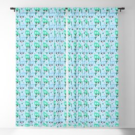 Mini Camper Vans in Blue and Mint with Green Cactus and Pink Flowers Blackout Curtain