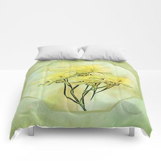 Elegant Framed Floral Abstract - Green Comforters