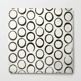 Polka Dots Circles Tribal Black and White Metal Print