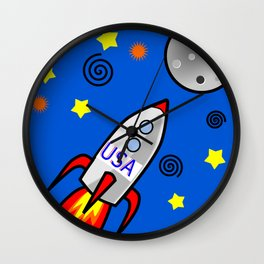 Dream Big-Rocket to the Moon Wall Clock