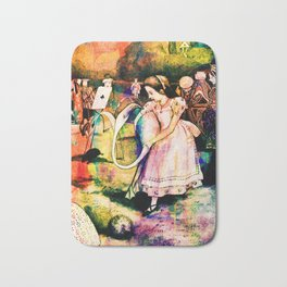 Alice in Wonderland Flamingo Croquet Watercolour Bath Mat