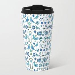 Scandi Folk Birds - blue & white Travel Mug