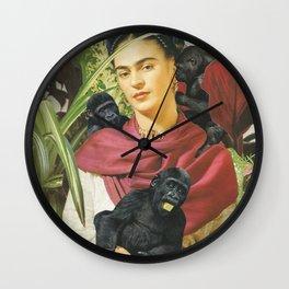 Frida Kahlo - Self portrait with monkeys recreated Wall Clock