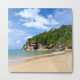 Exotic sand beach and cliffs with forest Metal Print