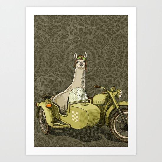 Sidecar Llama Art Print
