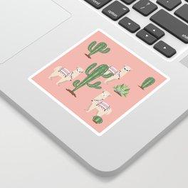 Alpaca with Cacti Sticker
