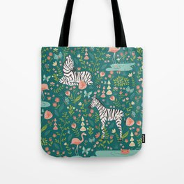 Wild Zebras in Green Garden Tote Bag