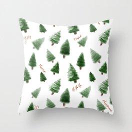 Christmas trees in watercolour  Throw Pillow