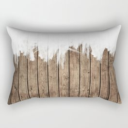White Abstract Paint on Brown Rustic Striped Wood Rectangular Pillow