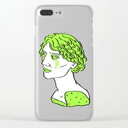Electric Green Bust of a Woman Clear iPhone Case