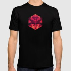Abstract  geometric triangle texture pattern design in diabolic future red Black Mens Fitted Tee MEDIUM