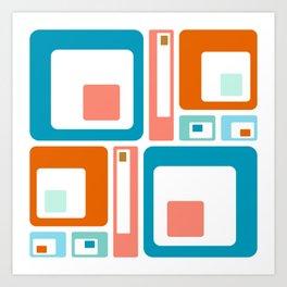 Retro Mid Century Modern Colorful Squares Art Print