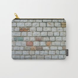Wall of white bricks and other colors Carry-All Pouch
